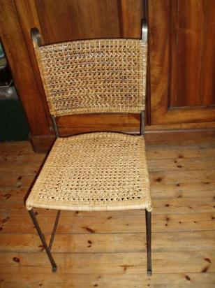 chaise métal, tissage lame de rotin